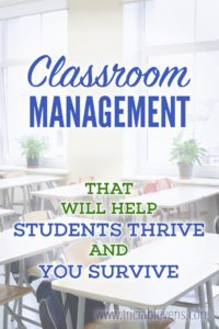 Classroom Management That Will Help Students Thrive and You Survive -with image of white classroom